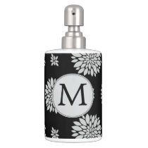 Personalized Monogram Black Floral Pattern Soap Dispenser And Toothbrush Holder