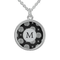 Personalized Monogram Black Floral Pattern Sterling Silver Necklace