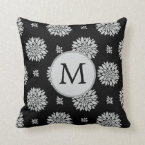 Personalized Monogram Black Floral Pattern Throw Pillow