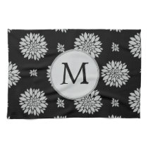 Personalized Monogram Black Floral Pattern Towel