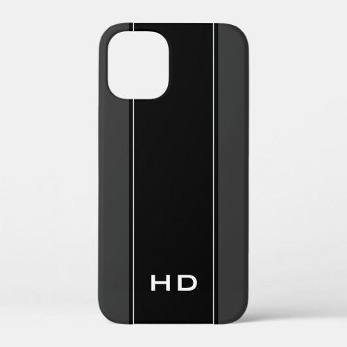 Personalized monogram black iPhone 12 case for men Phone Case