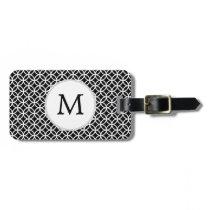 Personalized Monogram Black rings pattern Bag Tag