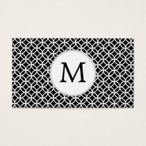 Personalized Monogram Black rings pattern Business Card