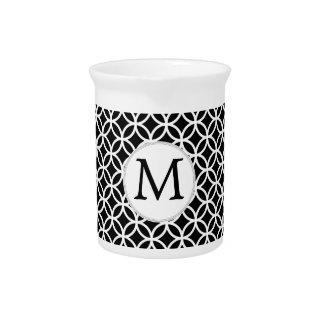 Personalized Monogram Black rings pattern Drink Pitchers