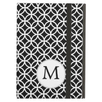 Personalized Monogram Black rings pattern iPad Air Cover