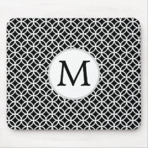 Personalized Monogram Black rings pattern Mouse Pad
