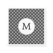 Personalized Monogram Black rings pattern Napkin