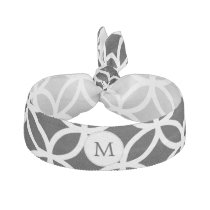 Personalized Monogram Black rings pattern Ribbon Hair Tie