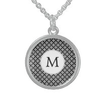 Personalized Monogram Black rings pattern Sterling Silver Necklace