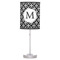 Personalized Monogram Black rings pattern Table Lamp