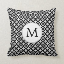 Personalized Monogram Black rings pattern Throw Pillow