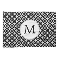 Personalized Monogram Black rings pattern Towel