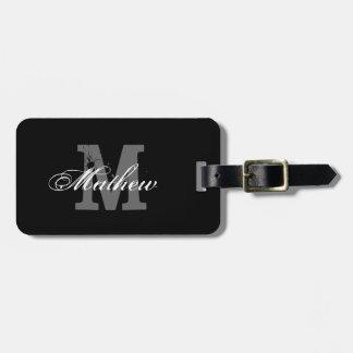 Personalized monogram black travel luggage tag