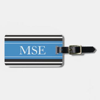 Personalized Monogram Blue Black Stripes Pattern Luggage Tag