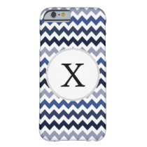 Personalized Monogram Blue Chevron Barely There iPhone 6 Case