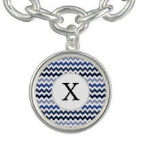 Personalized Monogram Blue Chevron Charm Bracelets