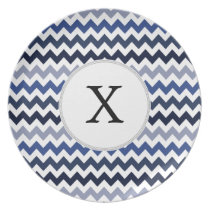 Personalized Monogram Blue Chevron Dinner Plate