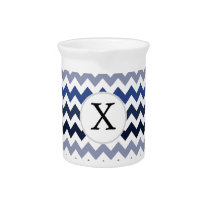 Personalized Monogram Blue Chevron Drink Pitcher