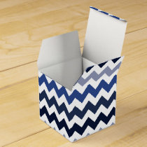 Personalized Monogram Blue Chevron Favor Box