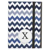 Personalized Monogram Blue Chevron iPad Air Case