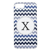 Personalized Monogram Blue Chevron iPhone 7 Case
