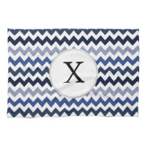 Personalized Monogram Blue Chevron Kitchen Towel