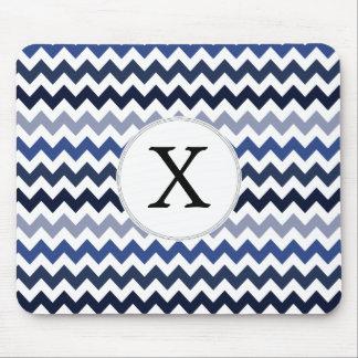 Personalized Monogram Blue Chevron Mouse Pad