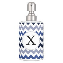 Personalized Monogram Blue Chevron Soap Dispenser And Toothbrush Holder