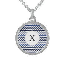 Personalized Monogram Blue Chevron Sterling Silver Necklace
