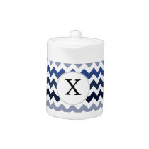 Personalized Monogram Blue Chevron Teapot