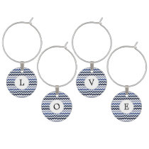 Personalized Monogram Blue Chevron Wine Charm