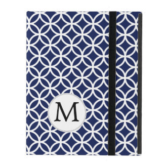 Personalized Monogram Blue Double Rings iPad Case