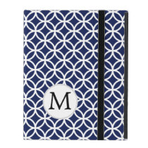 Personalized Monogram Blue Double Rings iPad Cover