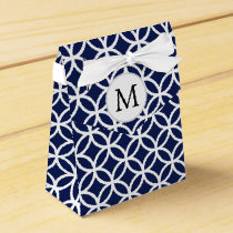Personalized Monogram blue double rings pattern Favor Box