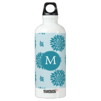 Personalized Monogram Blue Floral pattern Aluminum Water Bottle