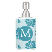 Personalized Monogram Blue Floral pattern Bathroom Set
