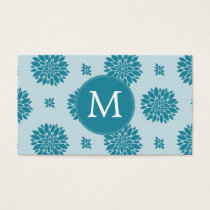 Personalized Monogram Blue Floral pattern Business Card