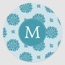 Personalized Monogram Blue Floral pattern Classic Round Sticker