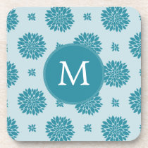 Personalized Monogram Blue Floral pattern Coaster