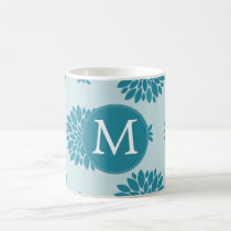 Personalized Monogram Blue Floral pattern Coffee Mug