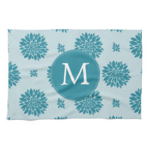 Personalized Monogram Blue Floral pattern Hand Towel