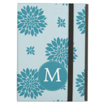 Personalized Monogram Blue Floral pattern iPad Air Covers