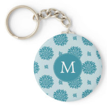 Personalized Monogram Blue Floral pattern Keychain