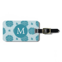 Personalized Monogram Blue Floral pattern Luggage Tag