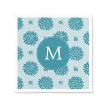 Personalized Monogram Blue Floral pattern Napkin