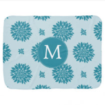 Personalized Monogram Blue Floral pattern Receiving Blanket