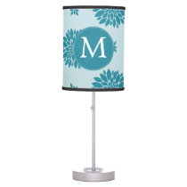 Personalized Monogram Blue Floral pattern Table Lamp