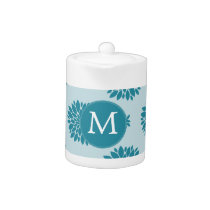 Personalized Monogram Blue Floral pattern Teapot