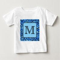 Personalized Monogram, Blue Leopard Print Pattern.