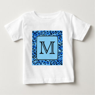 Personalized Monogram, Blue Leopard Print Pattern. Baby T-Shirt